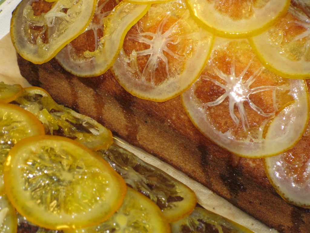 Candied Meyer Lemons and Oranges on Pound Cake