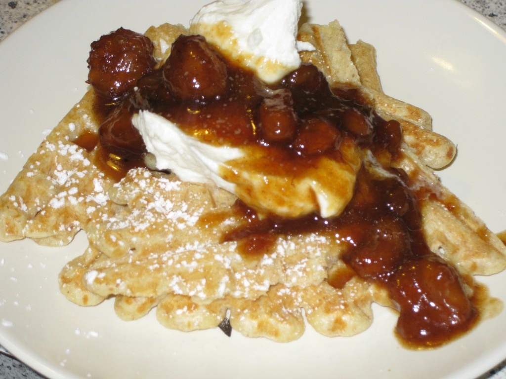 Waffle with Ricotta and Bananas Foster