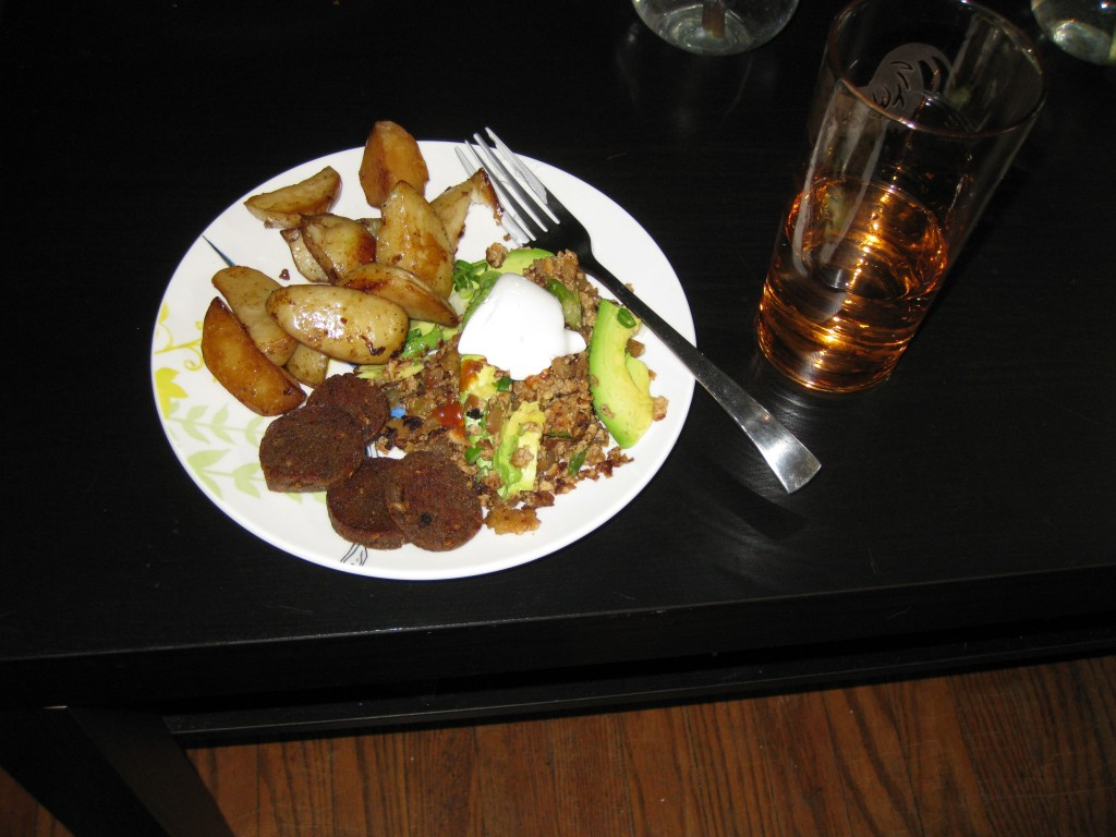 Vichtenaar Tofu Scramble with Imperial Stout Potatoes and Winter Ale Sausages